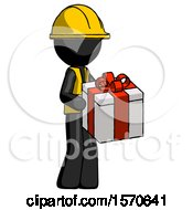 Black Construction Worker Contractor Man Giving A Present