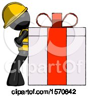 Black Construction Worker Contractor Man Gift Concept Leaning Against Large Present