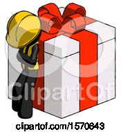 Black Construction Worker Contractor Man Leaning On Gift With Red Bow Angle View