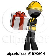 Black Construction Worker Contractor Man Presenting A Present With Large Red Bow On It