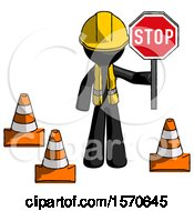 Black Construction Worker Contractor Man Holding Stop Sign By Traffic Cones Under Construction Concept