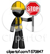 Black Construction Worker Contractor Man Holding Stop Sign