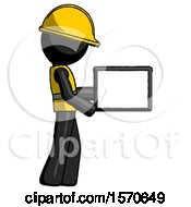 Black Construction Worker Contractor Man Show Tablet Device Computer To Viewer Blank Area