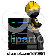 Black Construction Worker Contractor Man Resting Against Server Rack Viewed At Angle