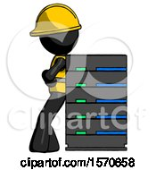 Black Construction Worker Contractor Man Resting Against Server Rack