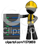 Black Construction Worker Contractor Man With Server Rack Leaning Confidently Against It