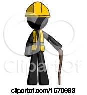 Black Construction Worker Contractor Man Standing With Hiking Stick