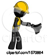 Black Construction Worker Contractor Man Dusting With Feather Duster Downwards
