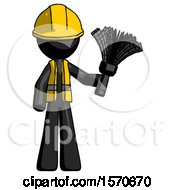 Black Construction Worker Contractor Man Holding Feather Duster Facing Forward
