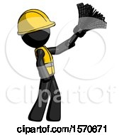 Black Construction Worker Contractor Man Dusting With Feather Duster Upwards