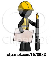 Black Construction Worker Contractor Man Holding Large Envelope And Calligraphy Pen