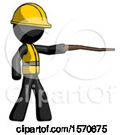 Black Construction Worker Contractor Man Pointing With Hiking Stick