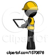 Black Construction Worker Contractor Man Looking At Tablet Device Computer With Back To Viewer