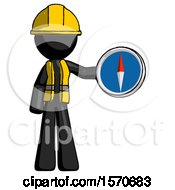Black Construction Worker Contractor Man Holding A Large Compass