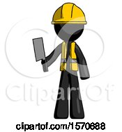 Black Construction Worker Contractor Man Holding Meat Cleaver