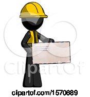 Black Construction Worker Contractor Man Presenting Large Envelope
