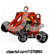 Black Construction Worker Contractor Man Riding Sports Buggy Side Top Angle View