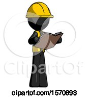 Poster, Art Print Of Black Construction Worker Contractor Man Reading Book While Standing Up Facing Away