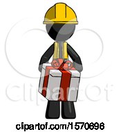 Black Construction Worker Contractor Man Gifting Present With Large Bow Front View