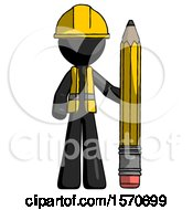 Black Construction Worker Contractor Man With Large Pencil Standing Ready To Write