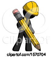 Black Construction Worker Contractor Man Writing With Large Pencil