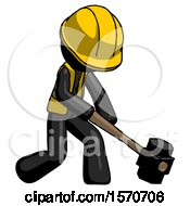 Black Construction Worker Contractor Man Hitting With Sledgehammer Or Smashing Something At Angle