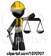 Black Construction Worker Contractor Man Justice Concept With Scales And Sword Justicia Derived
