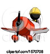 Black Construction Worker Contractor Man Flying In Geebee Stunt Plane Viewed From Below