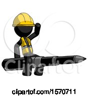 Black Construction Worker Contractor Man Riding A Pen Like A Giant Rocket