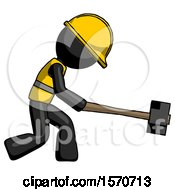 Black Construction Worker Contractor Man Hitting With Sledgehammer Or Smashing Something