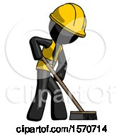 Black Construction Worker Contractor Man Cleaning Services Janitor Sweeping Side View