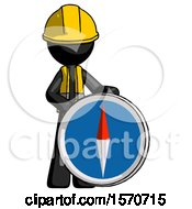 Black Construction Worker Contractor Man Standing Beside Large Compass