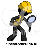 Black Construction Worker Contractor Man Inspecting With Large Magnifying Glass Right