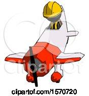 Black Construction Worker Contractor Man In Geebee Stunt Plane Descending Front Angle View