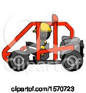 Black Construction Worker Contractor Man Riding Sports Buggy Side View