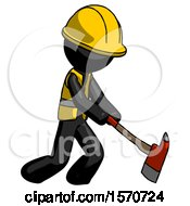 Black Construction Worker Contractor Man Striking With A Red Firefighters Ax