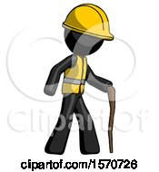 Black Construction Worker Contractor Man Walking With Hiking Stick