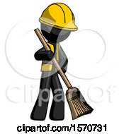 Black Construction Worker Contractor Man Sweeping Area With Broom