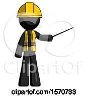 Black Construction Worker Contractor Man Teacher Or Conductor With Stick Or Baton Directing