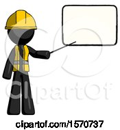 Black Construction Worker Contractor Man Giving Presentation In Front Of Dry Erase Board