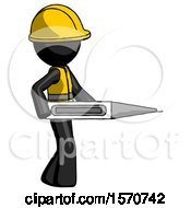 Black Construction Worker Contractor Man Walking With Large Thermometer