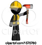 Black Construction Worker Contractor Man Holding Up Red Firefighters Ax