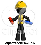 Black Construction Worker Contractor Man Red Pill Or Blue Pill Concept