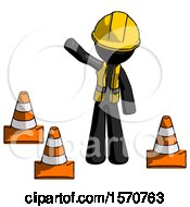 Black Construction Worker Contractor Man Standing By Traffic Cones Waving