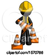 Black Construction Worker Contractor Man Holding A Traffic Cone