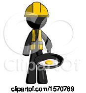 Black Construction Worker Contractor Man Frying Egg In Pan Or Wok