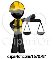 Black Construction Worker Contractor Man Holding Scales Of Justice