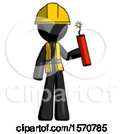 Black Construction Worker Contractor Man Holding Dynamite With Fuse Lit