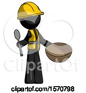 Black Construction Worker Contractor Man With Empty Bowl And Spoon Ready To Make Something