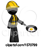 Black Construction Worker Contractor Man Frying Egg In Pan Or Wok Facing Right